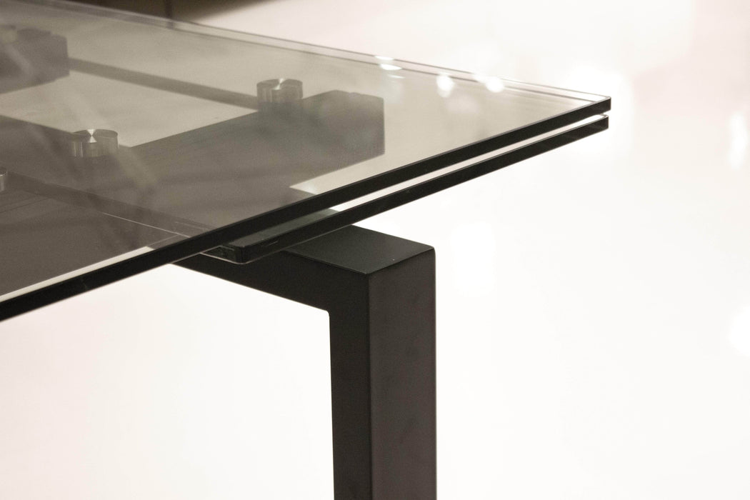 Mobital Dining Table Black Cantro Extending Dining Table Clear Glass With Black Powder Coated Base