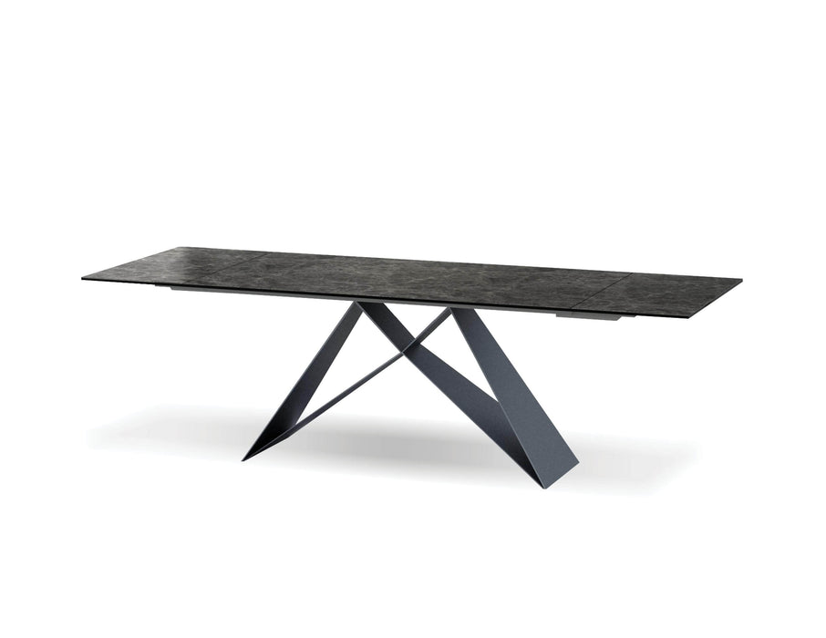 Mobital The W Dining Table with Black Italian Ceramic and Carrera Marble