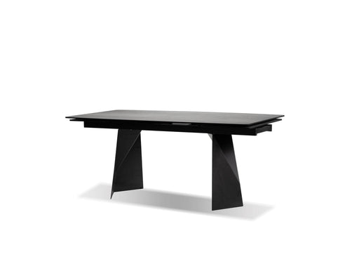 Mobital Dining Table Grey Prism Extending Dining Table Industrial Grey Ceramic With Black Powder Coated Base
