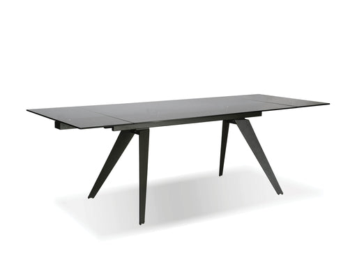 Mobital Dining Table Smoked Grey Noire Extending Dining Table Smoked Grey Glass With Iron Colored Steel Base