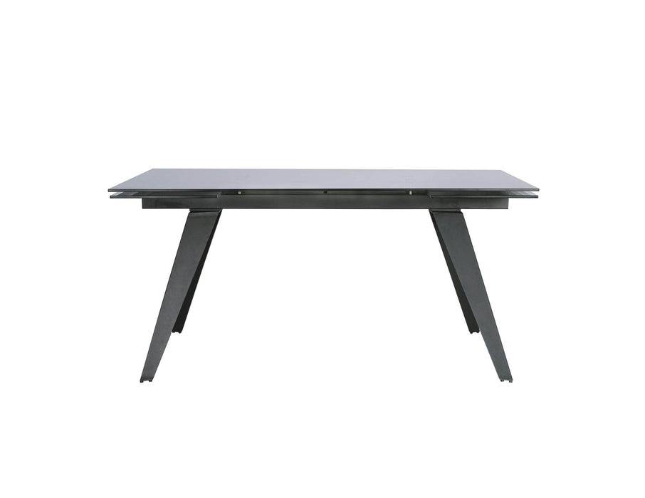 Mobital Noire Extending Dining Table with Smoked Grey Glass Top and Iron Colored Steel Base