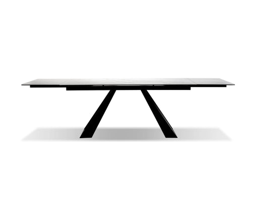 Mobital Dining Table White Bridge Dining Table White Carrera, Black Powder Coated Base