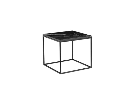 "Mobital Onix 19"" Square End Table with Black Nero Marquina Marble Top and Black Powder Coated Steel"