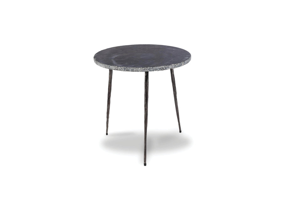 "Mobital End Table Black Spanish Nero Marquina Marble Kaii 16"" Medium End Table With Distressed Forged Black Iron Legs - Available in 3 Colors"