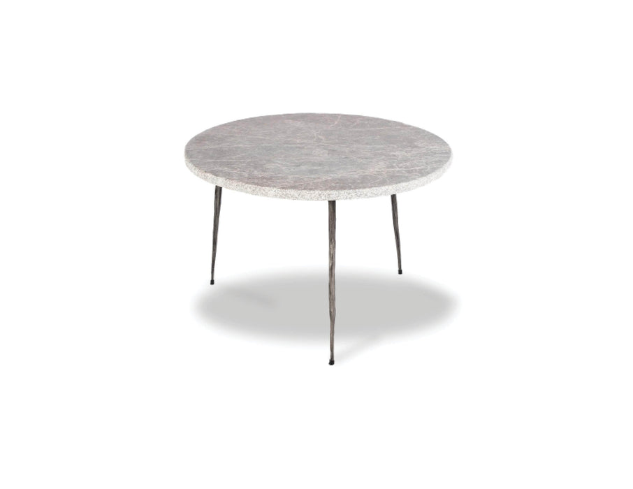 "Mobital End Table Grey Italian Marble Kaii 13"" Low End Table With Distressed Forged Black Iron Legs - Available in 3 Colors"