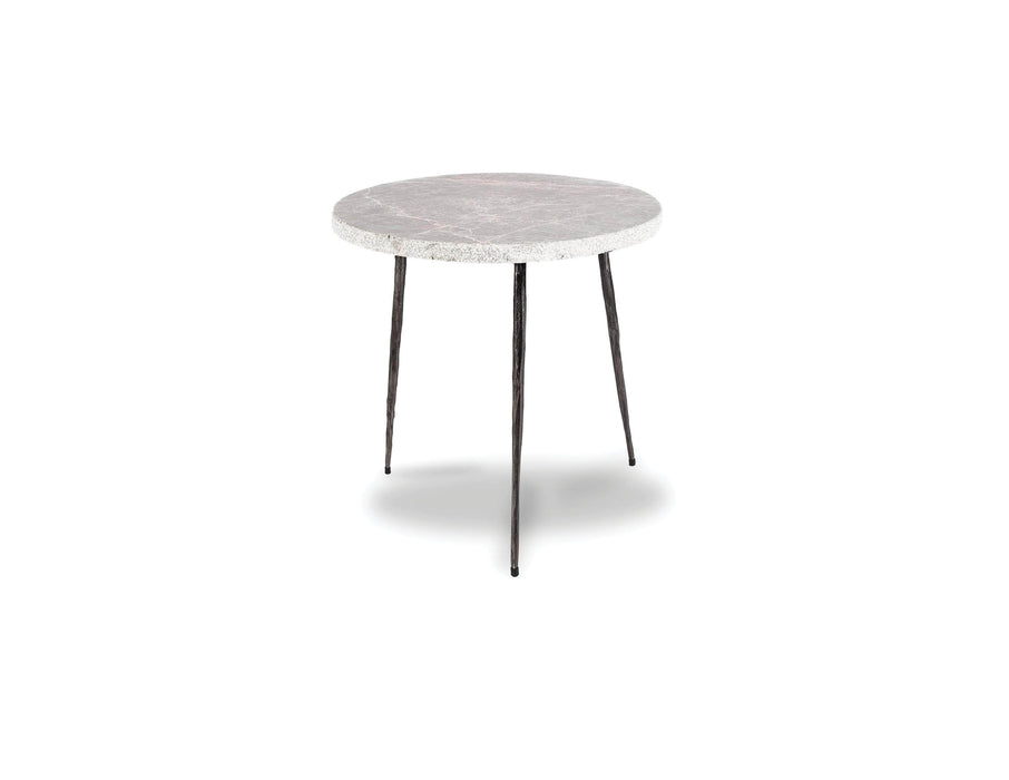 "Mobital End Table Grey Italian Marble Kaii 16"" Medium End Table With Distressed Forged Black Iron Legs - Available in 3 Colors"