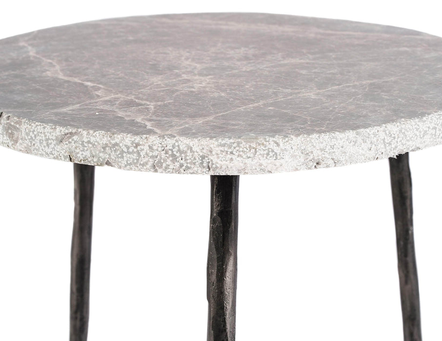 "Mobital End Table Kaii 13"" Low End Table With Distressed Forged Black Iron Legs - Available in 3 Colors"