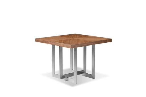 Mobital Remi Square End Table in Natural Walnut with Brushed Stainless Steel