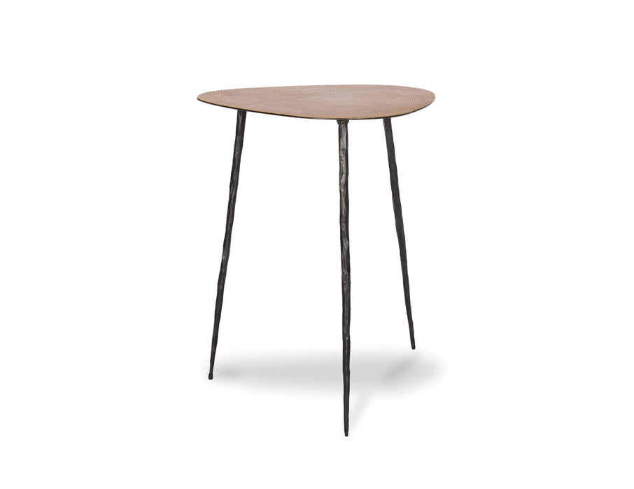 "Mobital Oakley 20"" Tall End Table in Oak Veneer with Black Iron Legs"
