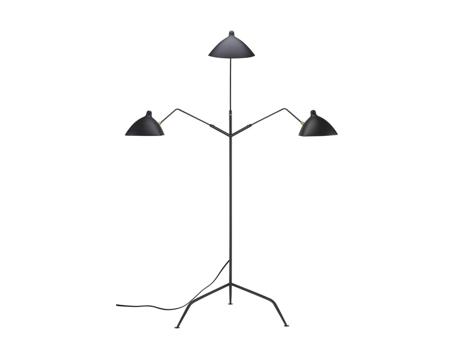 Mobital Gyoza Triple Floor Lamp with Matte Black Aluminum Shade and Brass Hardware