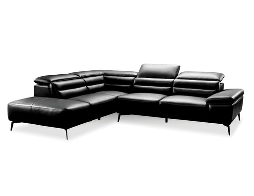 Mobital Left Side Facing Black Camello Leather Sectional Left Side Facing With Black Powder Coated Legs - Available in 3 Colors