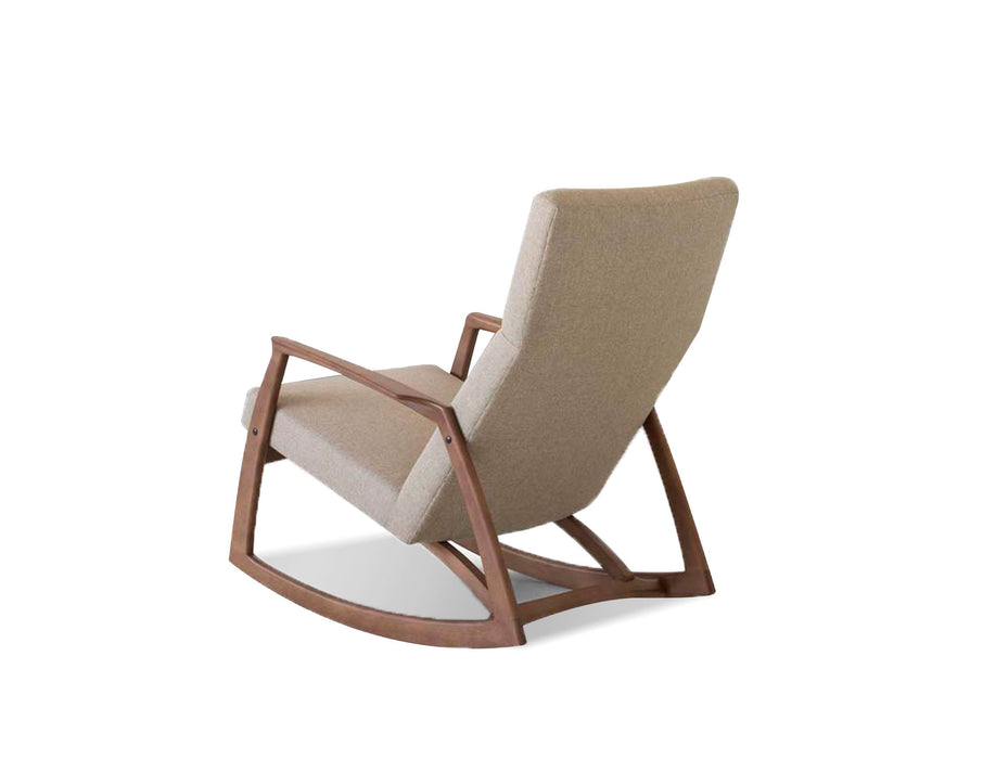 Mobital Lounge Chair Sand Tweed Percy Rocking Lounge Chair Sand Tweed Fabric With Ash Stained Light Walnut
