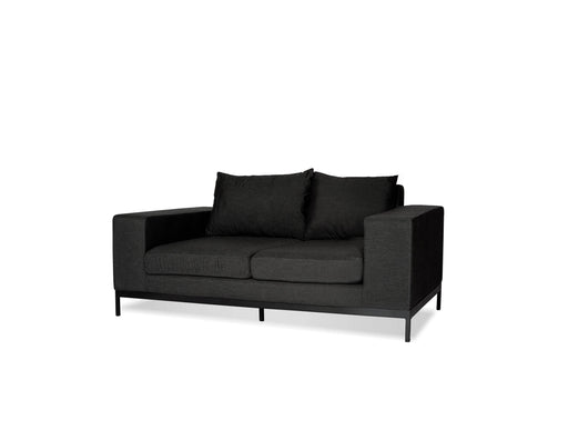 Mobital Jericho Loveseat in Sunbrella Charcoal Grey Fabric with Black Frame