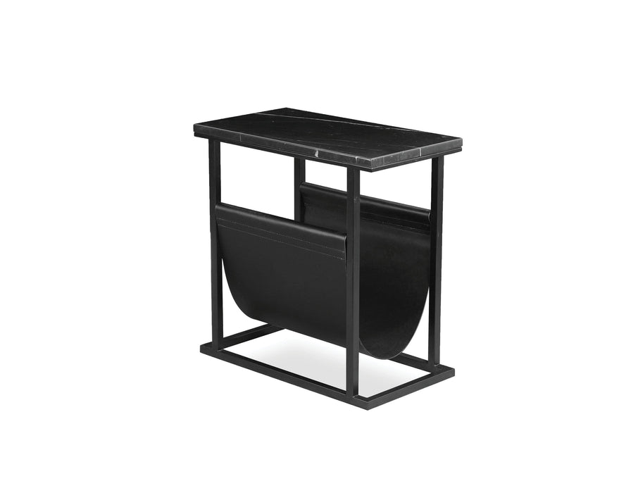 Mobital Onix Magazine Rack with Black Nero Marquina Marble Top with Black Leather Sling and Black Powder Coated Steel