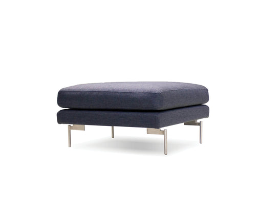 Mobital Taut Ottoman in Dark Grey Tweed Fabric with Brushed Stainless Steel Legs