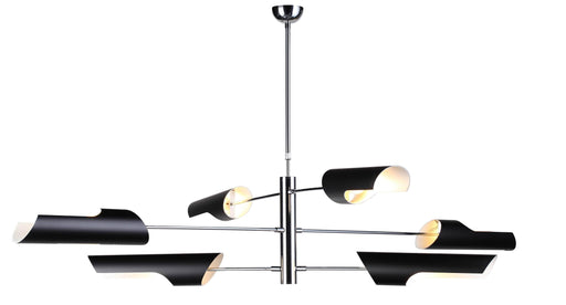 Mobital Mobile Pendant Lamp with Chrome Coated Frame and Black Steel Lampshade