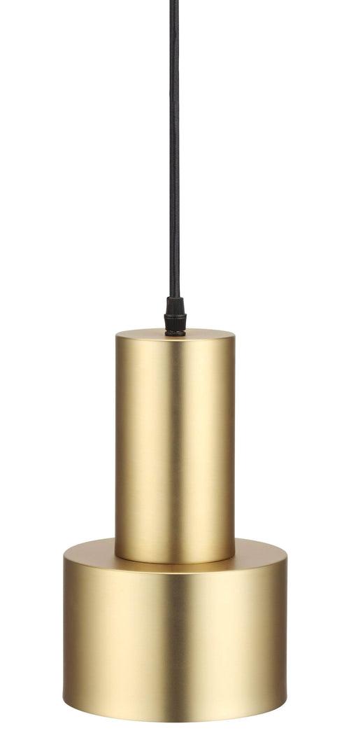 Mobital Magnum Pendant Lamp with Brass Plated Steel Shade and Matte Black Stem