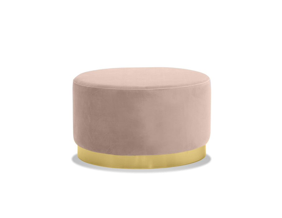 Mobital Pouf Blush Velvet / Low Pillbox Low Pouf With Electroplated Gold Base - Available in 2 Colors and Heights