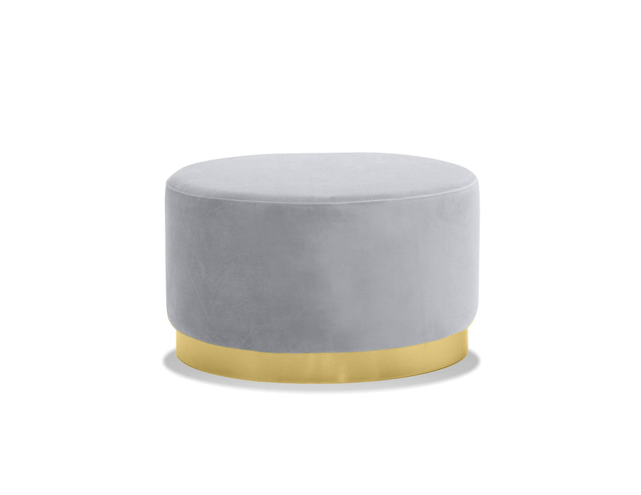 Pillbox Low Pouf with Electroplated Gold Base - Available in 2 Colors and Heights