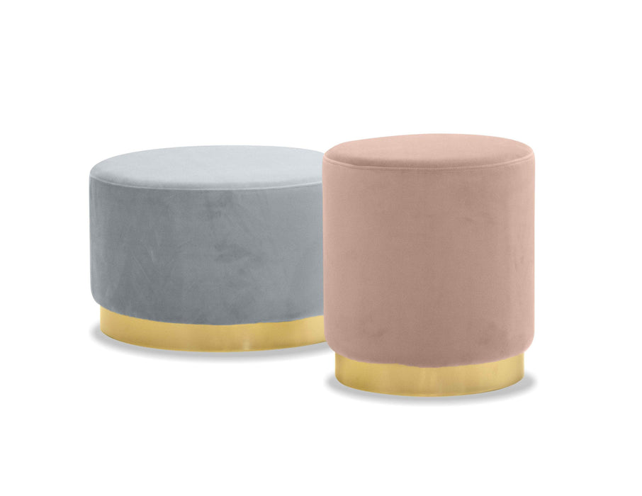 Mobital Pouf Pillbox Low Pouf With Electroplated Gold Base - Available in 2 Colors and Heights