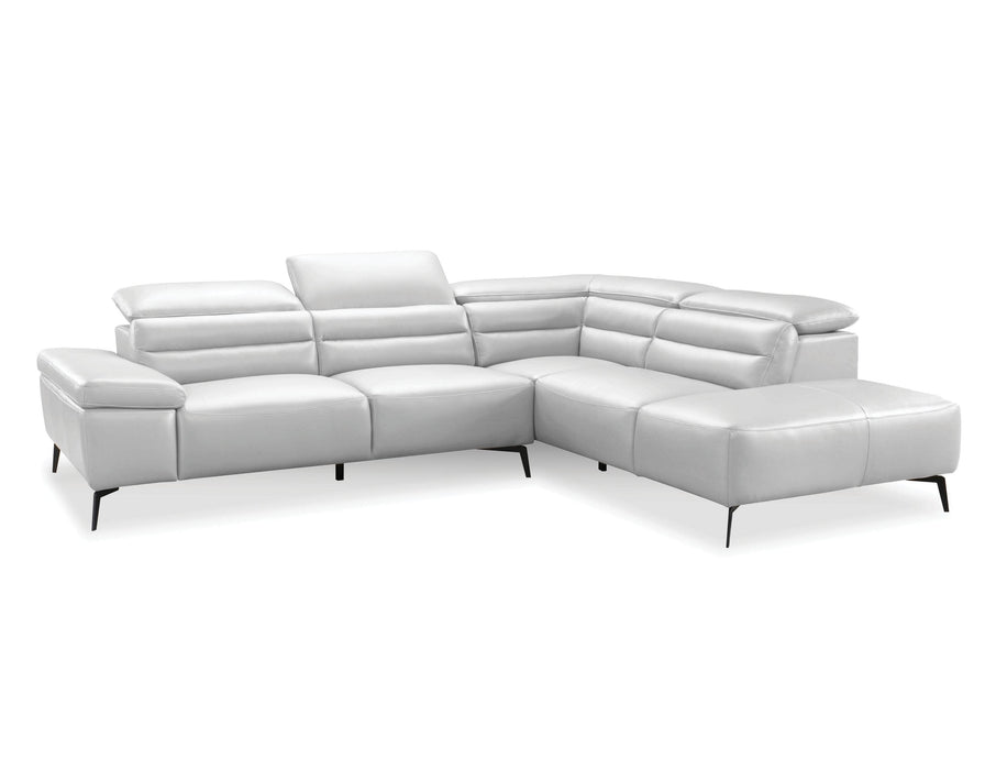 Mobital Camello Full Semi-Aniline Top Grain Leather Sectional Sofa With Adjustable Headrests And Right Facing Chaise - Available in 2 Colors