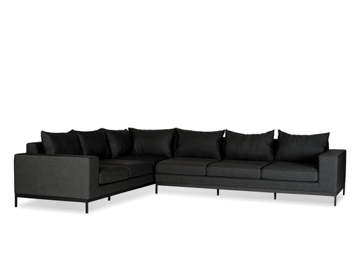 Mobital Jericho Sectional Sofa in Sunbrella Charcoal Grey Fabric with Black Frame