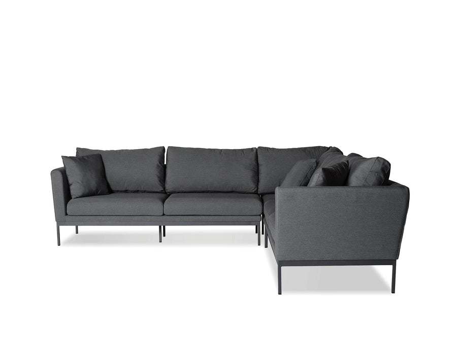 Mobital Sectional Grey Huntington 3-Piece Sectional Sunbrella Cabron Grey Fabric With Grey Frame