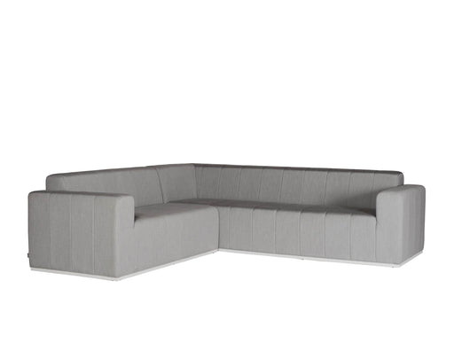 Mobital Sectional Grey Redondo Sectional Sunbrella Heather Grey Fabric With White Frame