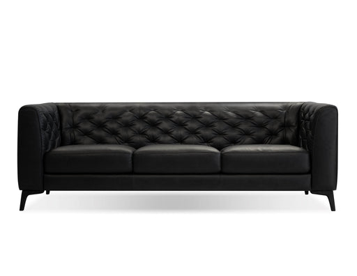 Mobital Dalton High Back Sofa in Tufted Vintage Black Top Grain Leather with Black Wood Stained Legs