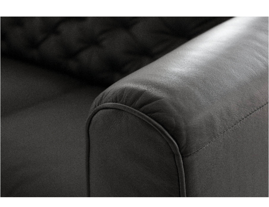 Pending - Mobital Sofa Black Dalton Sofa Vintage Black With Black Wood Stained Legs