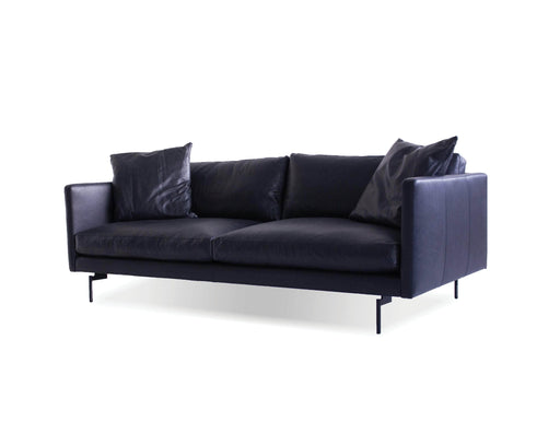 Mobital Tux Leather Sofa with Powder Coated Black Legs