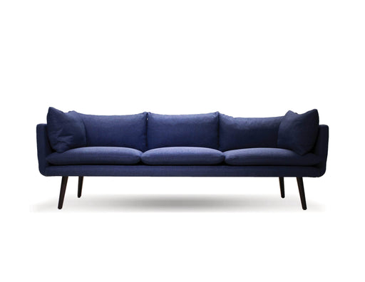 Mobital Deklan 3 Seater Sofa in Blue Fabric with Black Wooden Legs
