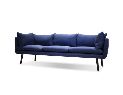 Mobital Sofa Blue Deklan 3 Seater Sofa Blue Fabric with Black Wooden Legs