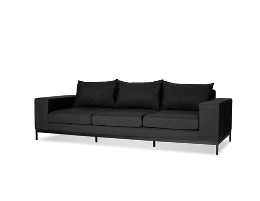 Mobital Sofa Charcoal Grey Jericho 3-Seater Sofa Sunbrella Charcoal Grey Fabric With Black Frame