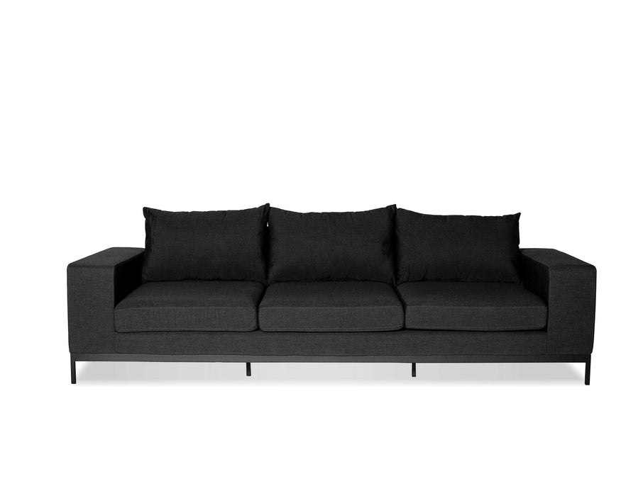 Mobital Jericho 3-Seater Sofa with Sunbrella Charcoal Grey Fabric and Black Frame