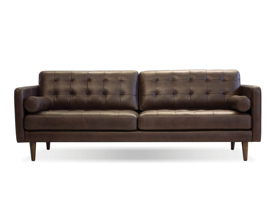 "Mobital Baldwin 89"" Tufted Sofa In Vintage Top Grain Chocolate Leather With Wood Legs Stained In Tea"