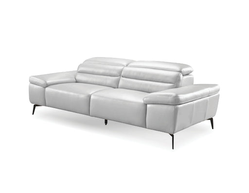 Mobital Sofa Silver Camello Leather Sofa With Powder Coated Black Legs - Available in 2 Colors