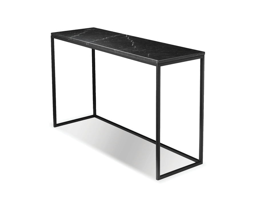 Mobital Onix Sofa Table with Black Nero Marquina Marble Top and Black Powder Coated Steel