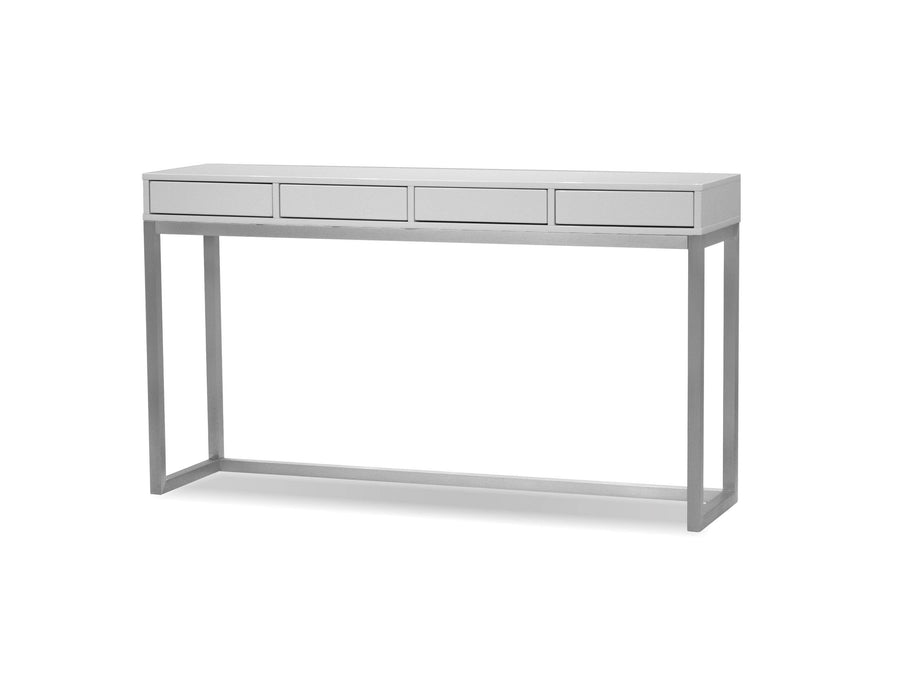 Mobital Palco Sofa Table in High Gloss White with Brushed Stainless Steel