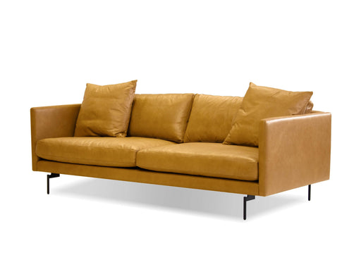 Mobital Sofa Tan Tux Leather Sofa With Powder Coated Black Legs - Available in 2 Colors