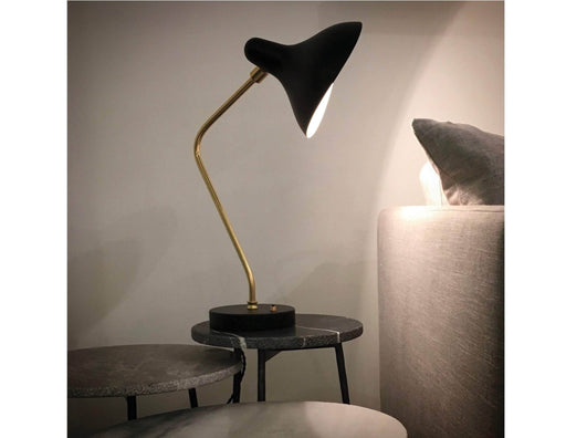 Mobital Stickman Table Lamp with Matte Black Aluminum Shade, Steel Stem and Brass Hardware