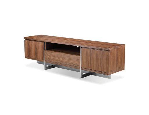Mobital TV Stand Natural Walnut Remi TV Stand With Brushed Stainless Steel - Available in 2 Colors