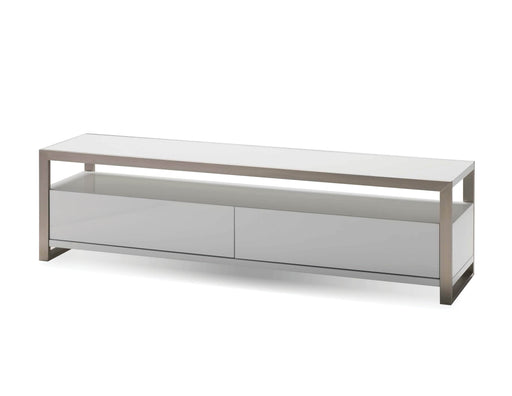 Mobital TV Stand White Brando TV Stand High Gloss White With Polished Stainless Steel