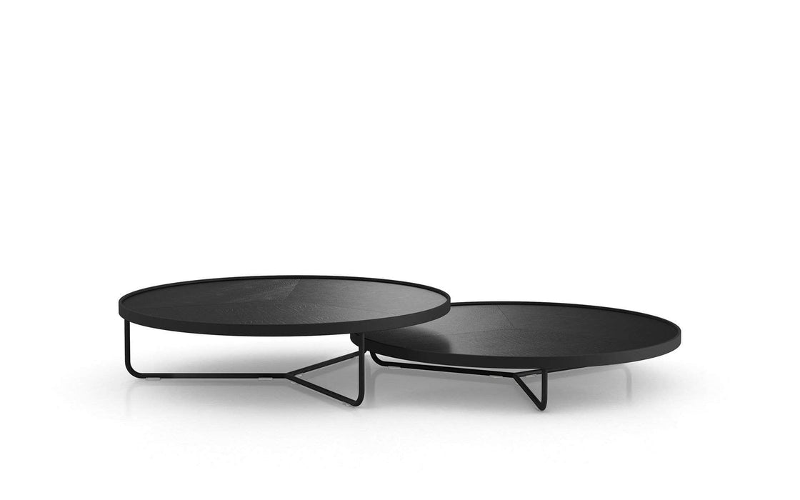 Pending - Modloft Coffee Tables Black Crocco Reclaimed Leather Adelphi Nesting Coffee Tables - Available in 4 Colors