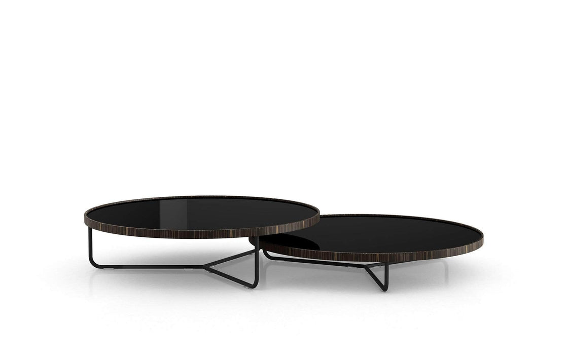 Pending - Modloft Coffee Tables Black Glass Adelphi Nesting Coffee Tables - Available in 4 Colors