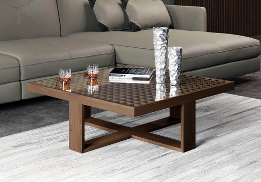 "Pending - Modloft Coffee Tables Leyton 35"" Coffee Table in Clear Glass and Walnut"