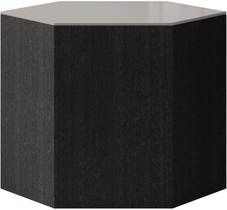 "Pending - Modloft Coffee Tables Walnut/Black Glass Centre 14"" Occasional Table - Available in 4 Colors"