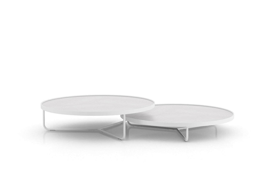 Pending - Modloft Coffee Tables White Crocco Reclaimed Leather Adelphi Nesting Coffee Tables - Available in 4 Colors