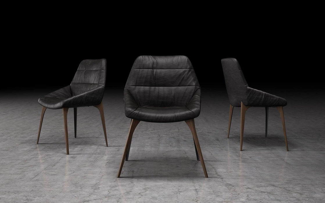 Pending - Modloft Dining Chairs Aged Onyx Leather Rutgers Dining Chair - Available in 3 Colors