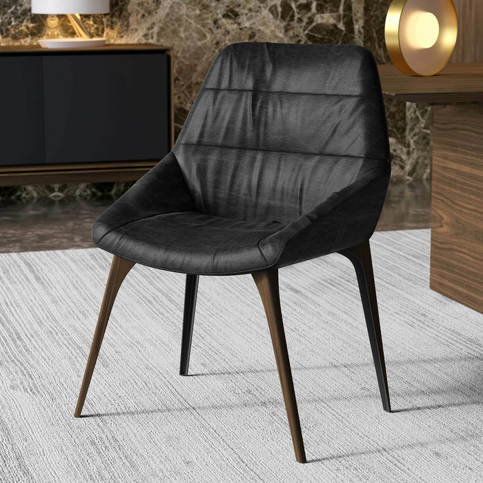 Rutgers Dining Chair in Aged Onyx Leather